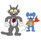 KIDROBOT X THE SIMPSONS ITCHY AND SCRATCHY 2-PACK