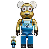 BE@RBRICK 400% MINIONS DAVE CHROME VERSION 2-PACK